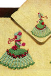 crinoline lady motif bath towel and face cloth pattern
