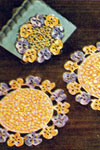 pansies hot plate set pattern