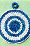 blue and white potholder pattern