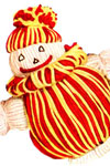 red and yellow clown doll